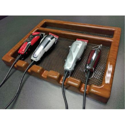 Akra Plastics Barber Tray w/ 5 Sections CHERRY WOOD LIGHT 7678