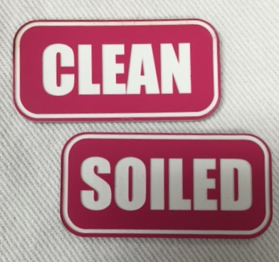 """SOILED"" PLASTIC LABELS PINK/WHITE 8472"