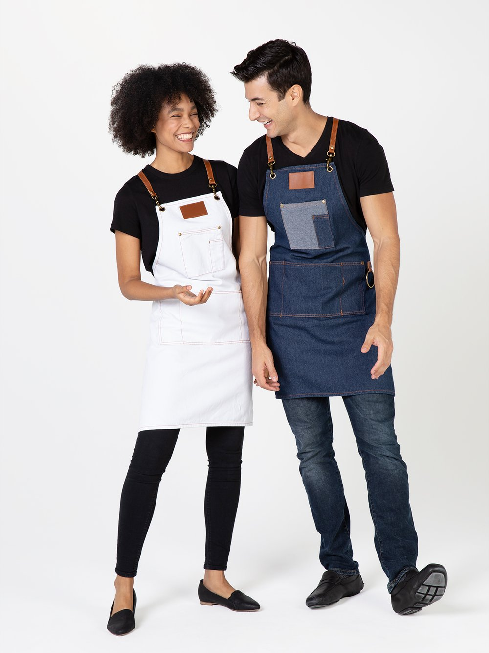 Betty Dain BROOKLYN DENIM APRON WHITE 8320