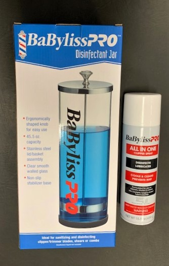 BaBylissPRO® DISINFECTANT JAR & All in One Clipper Spray 8770