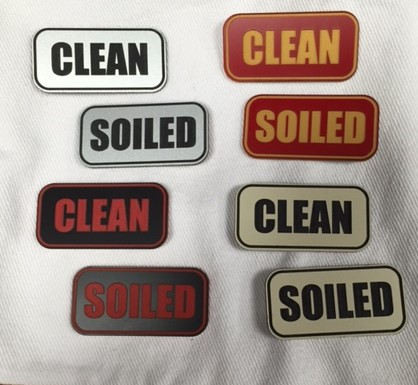 """SOILED"" PLASTIC LABELS BLACK/WHITE 8472"