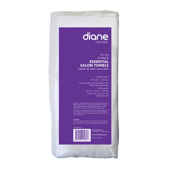 Diane Essential Salon White Towels 12 Pack 6850