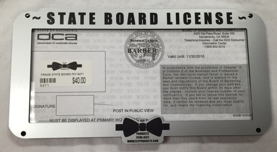 CALIFORNIA STATE BOARD LICENSE HOLDER Silver 8473